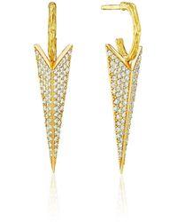 Mimi So Wonderland Pave Diamond Stinger Drop Earrings - Metallic