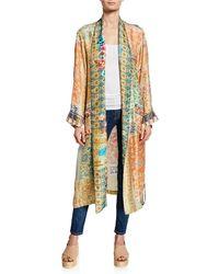 Johnny Was Plus Size Prima Printed Long-sleeve Silk Twill Robe - Multicolour