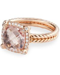David Yurman Chatelaine 18k Rose Gold Morganite Ring, Size 8 - Multicolour