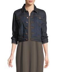 Eileen Fisher - Cropped Organic Cotton Stretch Denim Jacket - Lyst