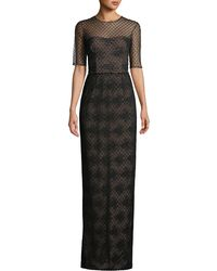 David Meister - Lace Illusion Gown Over Beaded Lining - Lyst