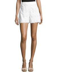 Kate Spade Cotton High-rise Eyelet Shorts - White