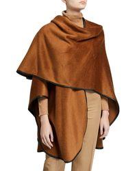 Sofia Cashmere Baby Alpaca Cape W/ Leather Trim - Brown