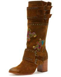 Frye - Nomi Flower Engineer Calf-high Boot - Lyst