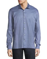 Ermenegildo Zegna - Silk-cotton Pique Button-front Shirt - Lyst