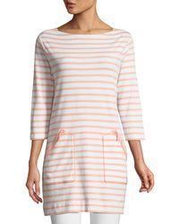 Joan Vass - Striped Cotton Interlock 2-pocket Tunic Petite - Lyst