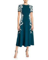 Oscar de la Renta Leaf Embroidered Dress - Green