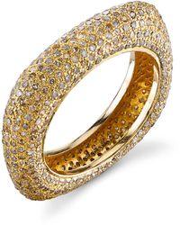 Sheryl Lowe 14k Gold Diamond Square Stack Ring, Size 8.5 - Metallic