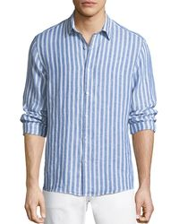 Michael Kors - Men's Slim Fit Striped Linen Button-down Shirt - Lyst