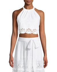Miguelina - Jasper Embroidered Lace Halter Crop Top - Lyst