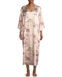 Natori - Perennial Floral-print Silk Caftan - Lyst