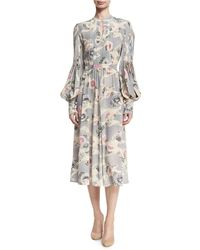 Co. - Mum-print Silk Bishop-sleeve Keyhole Midi Dress - Lyst
