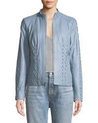 Neiman Marcus - Lace-up Leather Moto Jacket - Lyst