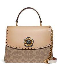 0843ce84aa2 COACH - Parker Tea Rose Canvas Top-handle Bag With Rivets - Lyst
