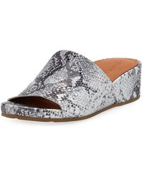 19a63a6b161a Gentle Souls - Gisele Metallic Leather Demi-wedge Slide Sandals - Lyst