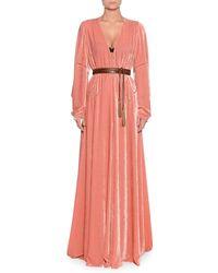 Bottega Veneta - V-neck Long-sleeve Belted Chain-stitch A-line Long Dress W/ Leather Belt - Lyst