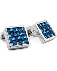 Tateossian - Silver Interlock Swarovski Crystal Cuff Links - Lyst
