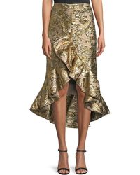 Johanna Ortiz - Metallic Jacquard Ruffle Evening Skirt - Lyst