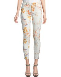 7 For All Mankind Skinny Floral Ankle Jeans - Multicolour