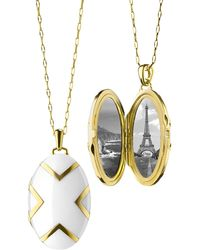 Monica Rich Kosann - 18k White Ceramic Oval X Locket - Lyst