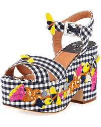 Laurence Dacade - Helissa Gingham Embroidered Platform Wedge Sandal - Lyst
