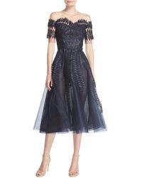 Oscar de la Renta - Embroidered Tulle Short-sleeve Tea-length Cocktail Dress - Lyst
