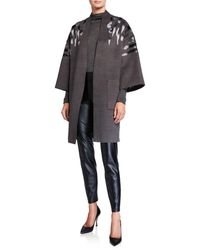 Natori Felted Wool Kimono Topper With Embroidery - Gray