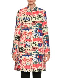 Emporio Armani - Cyber Underwater World High-neck Embroidered Coat - Lyst