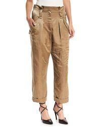 Brunello Cucinelli - Linen-satin Straight-leg Cargo Pants - Lyst
