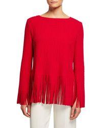 Alaïa Fringe Hem Boat-neck Long-sleeve Top - Red