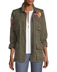 Trina Turk - Floral-embroidered Camouflage Twill Jacket - Lyst