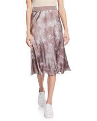 ATM Tie-dye Silk Pull-on Skirt - Pink