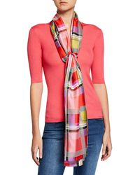 St. John Multi Color Madras Silk Scarf - Red