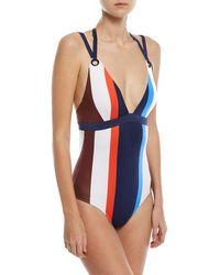 Mei L'ange - Mya Plunging Grommet Halter One-piece Swimsuit - Lyst