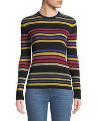 Etro - Crewneck Metallic Multicolor Striped Knit Sweater - Lyst