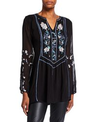 Tolani Lauren Silk Long-sleeve Tunic With Embroidery - Black