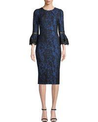 THEIA - Tulip-sleeve Brocade Dress - Lyst