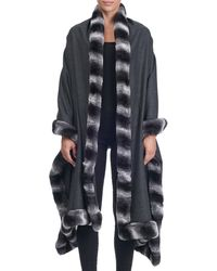 Giuliana Teso | Cashmere Cape With Rabbit Fur Trim | Lyst