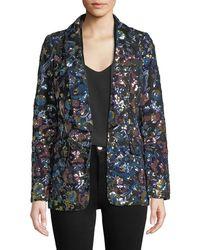 Self-Portrait - Floral Sequin Single-button Jacket - Lyst
