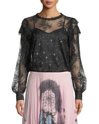Boutique Moschino Lace Blouse With Printed Camisole - Black