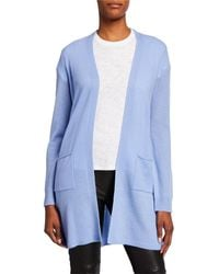 ATM Two-pocket Open-front Mid-length Cashmere Cardigan - Blue