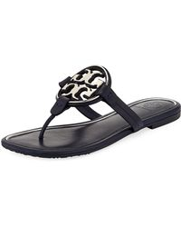 ea4e97355261f Tory Burch - Miller Square-toe Flat Slide Sandals - Lyst