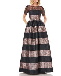 Kay Unger Alexis Striped Short-sleeve Mikado Ball Gown With Lace - Black