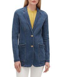 Lafayette 148 New York Boston Prestige Denim Two-button Jacket - Blue