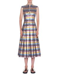 Akris Punto Striped Metallic Cotton Zip-front Dress - Blue