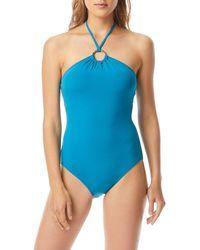 MICHAEL Michael Kors Logo Ring Solid Bandeau One-piece Swimsuit - Blue