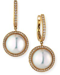 Belpearl 18k Pearl-drop Diamond-halo Earrings - Multicolour