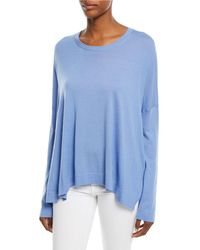 Michael Kors - Crewneck Long-sleeve Draped Cashmere Pullover Sweater - Lyst