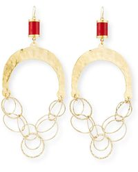 Devon Leigh Hammered Chain & Coral Chandelier Earrings - Metallic
