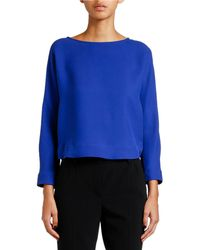 Giorgio Armani - Cross-back Long-sleeve Georgette Blouse - Lyst